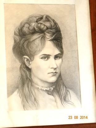 Veronica Micle, desen dupa portret, in casa memoriala a sa din Targu Neamt